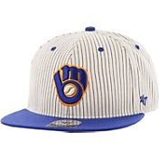 '47 Men's Milwaukee Brewers Woodside Captain Pinstripe Adjustable Hat