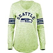 5th & Ocean Women's Seattle Seahawks Space Dye Green Long Sleeve Shirt