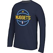 adidas Men's Denver Nuggets climalite Navy Long Sleeve Shirt