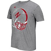 adidas Men's Nebraska Cornhuskers Grey Football Helmet T-Shirt