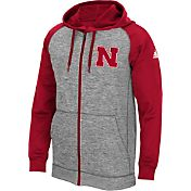 adidas Men's Nebraska Cornhuskers Grey/Scarlet Full-Zip Tech Fleece Hoodie