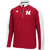 adidas Men's Nebraska Cornhuskers Red/White Sideline Long Sleeve Quarter-Zip Shirt