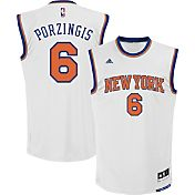 adidas Youth New York Knicks Kristaps Porzingis #6 Home White Replica Jersey