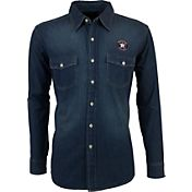Antigua Men's Houston Astros Chambray Button-Up Long Sleeve Shirt