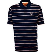 Antigua Men's Houston Astros Deluxe Navy Striped Performance Polo