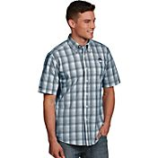 Antigua Men's Connecticut Huskies Blue Plaid Short Sleeve Button Down Shirt