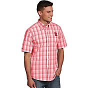 Antigua Men's Rutgers Scarlet Knights Scarlet Plaid Short Sleeve Button Down Shirt