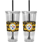 Boelter Pittsburgh Steelers Bold Sleeved 22oz Straw Tumbler 2-Pack