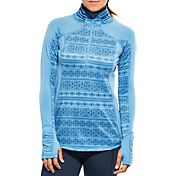 CALIA by Carrie Underwood Women's Plus Size Warm Printed Quarter Zip Long Sleeve Shirt