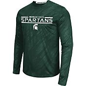 Colosseum Athletics Men's Michigan State Spartans Green Sleet Long Sleeve Performance Shirt