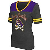 Colosseum Athletics Women's East Carolina Pirates Grey Twist V-Neck T-Shirt