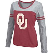Colosseum Athletics Women's Oklahoma Sooners Crimson Leap Scoop Neck Long Sleeve Shirt