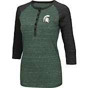 Colosseum Women's Michigan State Spartans Green Three-Quarter Sleeve Henley Shirt