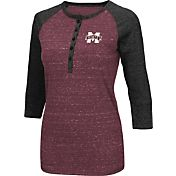 Colosseum Women's Mississippi State Bulldogs Maroon Three-Quarter Sleeve Henley Shirt