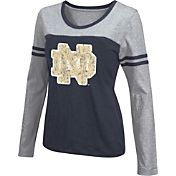 Colosseum Athletics Women's Notre Dame Fighting Irish Navy Leap Scoop Neck Long Sleeve Shirt