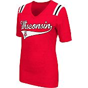 Colosseum Athletics Women's Wisconsin Badgers Red Artistic V-Neck T-Shirt
