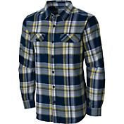Columbia Men's Michigan Wolverines Blue Plaid Flare Gun Flannel Long Sleeve Shirt