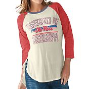 G-III For Her Women's Ole Miss Rebels White/Red Hang Time Three-Quarter Shirt