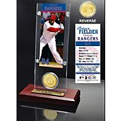 Highland Mint Prince Fielder Texas Rangers Ticket and Bronze Coin Acrylic Desktop Display