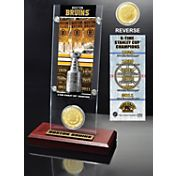 Highland Mint Boston Bruins 6x Stanley Cup Champions Ticket and Bronze Coin Acrylic Display