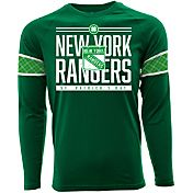 Levelwear Men's St. Patty's Day New York Rangers Green Long Sleeve T-Shirt