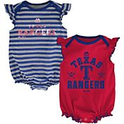 Majestic Infant Texas Rangers Two-Piece Sparkle Onesie Set