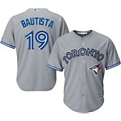 Majestic Men's Replica Toronto Blue Jays Jose Bautista #19 Cool Base Road Grey Jersey