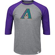 Majestic Men's Arizona Diamondbacks Cooperstown Grey/Purple Raglan Three-Quarter Sleeve Shirt