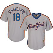 Majestic Men's Replica New York Mets Darryl Strawberry Cool Base Grey Cooperstown Jersey
