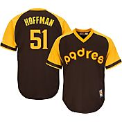 Majestic Men's Replica San Diego Padres Trevor Hoffman Cool Base Brown Cooperstown Jersey