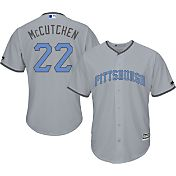 Majestic Men's Replica Pittsburgh Pirates Andrew McCutchen #22 2016 Father's Day Cool Base Road Grey Jersey