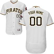 Majestic Men's Custom Authentic Pittsburgh Pirates Flex Base Home White On-Field Jersey