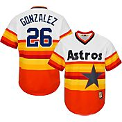 Majestic Men's Replica Houston Astros Luis Gonzalez Cool Base Rainbow Cooperstown Jersey