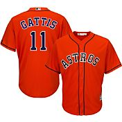 Majestic Men's Replica Houston Astros Evan Gattis #11 Cool Base Alternate Orange Jersey