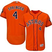 Majestic Men's Authentic Houston Astros George Springer #4 Alternate Orange Flex Base On-Field Jersey