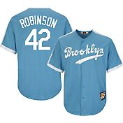 Majestic Men's Replica Brooklyn Dodgers Jackie Robinson Cool Base Light Blue Cooperstown Jersey