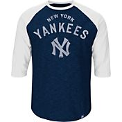 Majestic Men's New York Yankees Cooperstown Navy Raglan Three-Quarter Sleeve Shirt