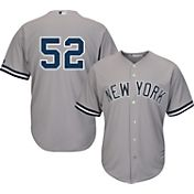 Majestic Men's Replica New York Yankees CC Sabathia #52 Cool Base Road Grey Jersey