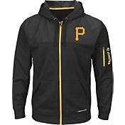 Majestic Youth Pittsburgh Pirates Therma Base Black Full-Zip Hooded Fleece