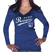 Majestic Threads Women's New York Rangers Tri-Blend Long Sleeve Royal T-Shirt