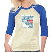 Majestic Threads Women's New York Rangers Three-Quarter Raglan Sleeve T-Shirt