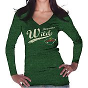 Majestic Threads Women's Minnesota Wild Tri-Blend Long Sleeve Green T-Shirt