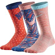 Nike Girls' Graphic Cotton Crew Socks 3 Pack