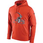 Nike Men's Cleveland Browns Performance Circuit Logo Essential Orange Hoodie