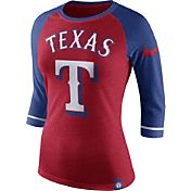 Nike Women's Texas Rangers Red/Royal Raglan Three-Quarter Sleeve Shirt