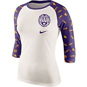 Nike Women's LSU Tigers Cream/Purple Veer Tri-Blend Three-Quarter Raglan Shirt