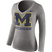 Nike Women's Michigan Wolverines Grey Mid-V Logo Long Sleeve Shirt