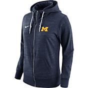 Nike Women's Michigan Wolverines Heathered Blue Tailgate Gym Vintage Full-Zip Hoodie