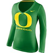 Nike Women's Oregon Ducks Apple Green Mid-V Logo Long Sleeve Shirt