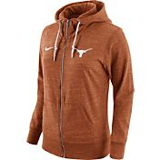 Nike Women's Texas Longhorns Heathered Burnt Orange Tailgate Gym Vintage Full-Zip Hoodie